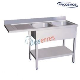 Fregadero 2 cubas con escurridor para lavaplatos izq