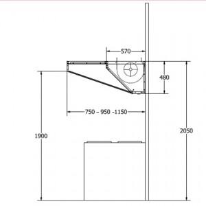 esquema montaje y medidas campana industrial low