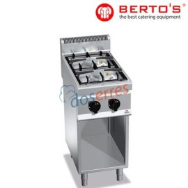 Cocina profesional de 2 fuegos con soporte gama 700 bertos