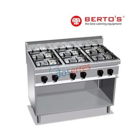 Cocina de 6 fuegos sobre soporte de la gama 700 de Bertos