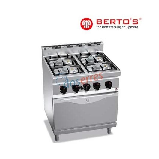 Cocina de 4 fuegos + horno bertos gama 700
