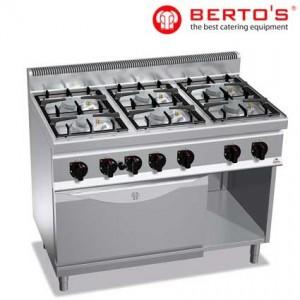 Cocina de 4 fuegos + horno GN 1/1 bertos gama 700