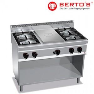 Cocina de 4 fuegos con placa radiante bertos