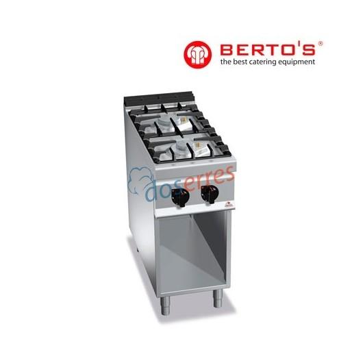 Cocina profesional de 2 fuegos con soporte gama 900 bertos
