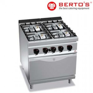 Cocina de 4 fuegos con horno, fondo 900