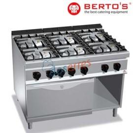 Cocina de 6 fuegos y horno gama 900 de bertos