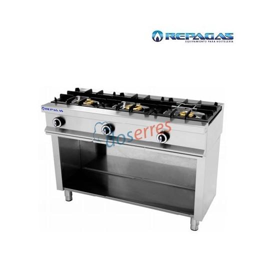 Cocina de 3 fuegos con soporte repagas