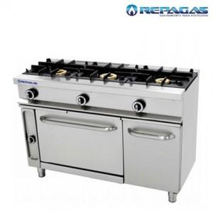Cocina de 3 fuegos con horno repagas
