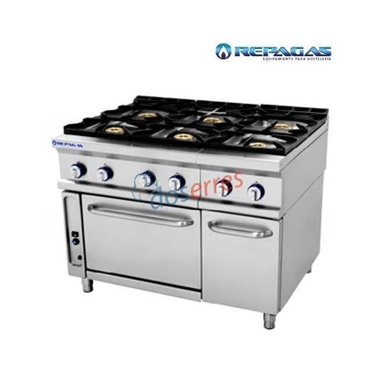 Cocina 6 fuegos con horno Repagas